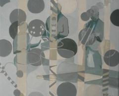 BF0011 - Belén Franco. Percusionistas II. Acrílico y óleo sobre lienzo. 21,5 x 23. 2014