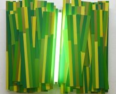 ago0127 - Arancha Goyeneche. Paisaje fragmentado. Después de la siega. Vinilo adhesivo, aluminio, capafix, pvc. 80 x 85 x 11. 2015