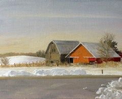 FDE0003 -  Félix de la Concha. Snow at Prairie du Chien in the Warmest Winter. Iowa. Óleo sobre lienzo. 34,5 x 49. 2012