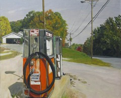 FDE0011 - Félix de la Concha. Gas Station at Dartmouth College Highway. Lyme, Ne. Óleo sobre lienzo. 62 x 49. 2008