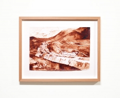 JA0037 - Javier Arce. ENGAÑA (Poblado de La Engaña en la boca sur). Sangre mía sobre papel Hahnemühle. 31,5 x 40. 2015