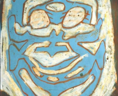 Luis Gordillo - lg0016 - Actor VI. Técnica mixta cartulina. 50 x 35. 2002