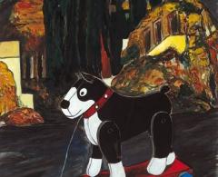 Manuel Fernández Saro -mf0040 - El perro de Baskerville. Óleo sobre papel. 90 x 70. 2005