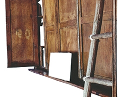 HI0002 - HISAE IKENAGA. Serie ONLY WOOD. Papel de revista recortado, metracrilato 45 x 34 x 3. 2016