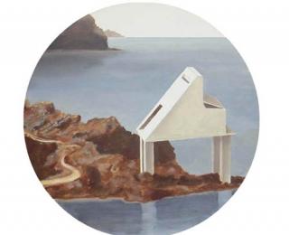 Damián Flores - DF0050 - El Refugio del pianista. Óleo sobre madera. 30 x 30. 2003