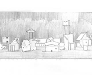 Damián Flores - DF0053 - Melnikov y Le Corbusier en mi Estudio. Grafito sobre papel. 10 x 45. 2003