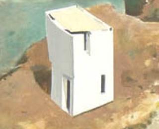 Damián Flores - DF0056 - Casa R. Velasco. Óleo sobre madera. 40 x 15. 2003