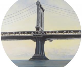 Damián Flores - df0082 - Puente de Manhattan. Óleo sobre madera. 75 x 75. 2007