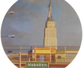 Damián Flores - df0084 - Hoboken. Óleo sobre madera. 75 x 75. 2007