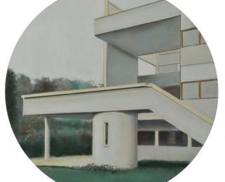 Damián Flores - df0200 - Villa Stein-de Monzie, Vaucresson. 1926-28.Óleo sobre madera.32 x 32.2011