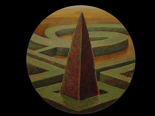 Damián Flores - Jardin extranjero. 2002. Óleo sobre madera. 50 cm. diámetro