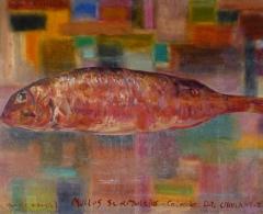 Eduardo Gruber - eg0145 - Salmonete gigante. Óleo sobre papel/tabla. 37,5 x 55,5. 2009