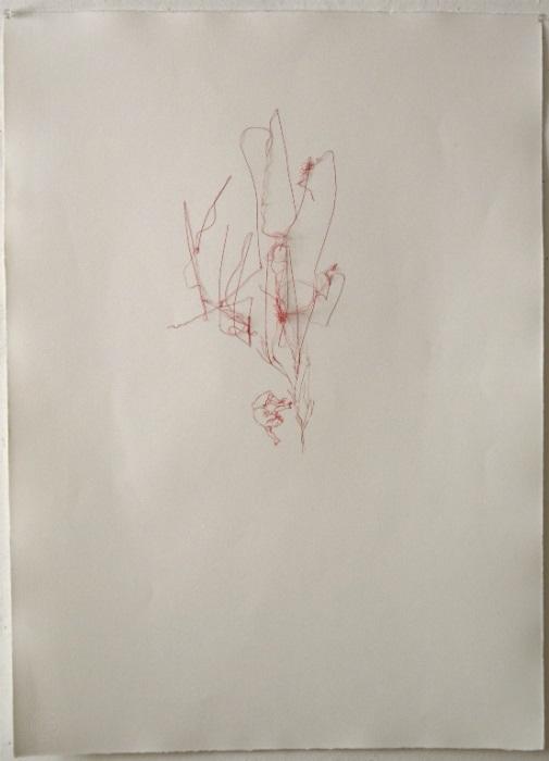 cga0022 - Concha García. Hilos de locura 1. Acuarela e hilo sobre papel. 78,5 x 58. 2011