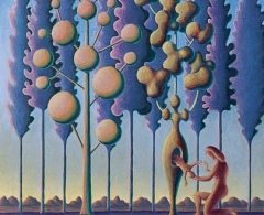 gpv0054 - Guillermo Pérez Villalta. Adonis nace del árbol de MirraTemple sobre madera. 50 x 45. 2007
