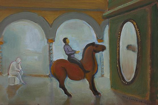 JM0429 - José Luis Mazarío. En el museo.  2020.  Óleo sobre tabla. 20 x 30 cm.