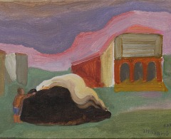 JM0422 - José Luis Mazarío. La plaza. 2019. Óleo sobre lienzo. 24 x 33 cm.