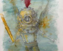 José Luis Serzo - jls0188 - Blinky en las profundidades.Técnica mixta sobre papel.42 x 30.2011