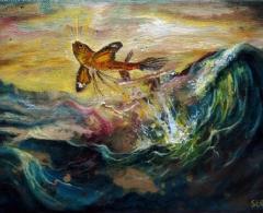 José Luis Serzo - jls0205 - El vuelo del pez mariposa.Óleo sobre lienzo.14 x 18.2010