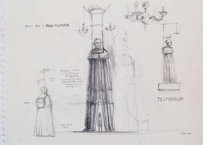 JLS0292 - José Luis Serzo. Bocetos para un traje-teatrorum. Lápiz sobre papel. 30 x 42. 2016