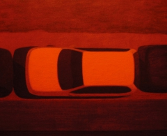 Fernando Martín Godoy - fmg0004 - Luz roja: coche blanco. Acrílico sobre tabla entelada. 21 x 27. 2005