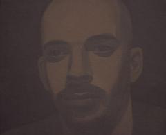 Fernando Martín Godoy - fmg0007 - Autorretrato gris cemento. Acrílico sobre lienzo. 27 x 24. 2005