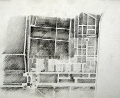 SQ0009 -  Sara Quintero. Vista aérea, Dachau. Lápiz sobre papel. 20 x 30. 2017