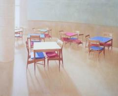 Teresa Moro - TM0058 - Mesas de colores.Acrílico sobre tela.114 x 146.2011